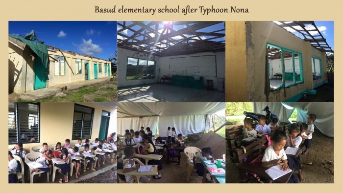 Basud elementary school after Typhoon Nona